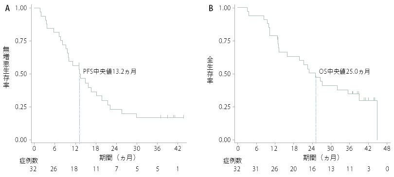 図 無増悪生存曲線(左)と全生存曲線(右)
